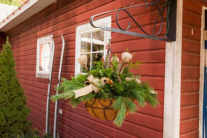Hanging Basket of Christmas Greenery