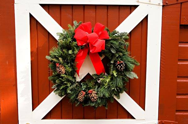 Christmas Wreath on our Barn