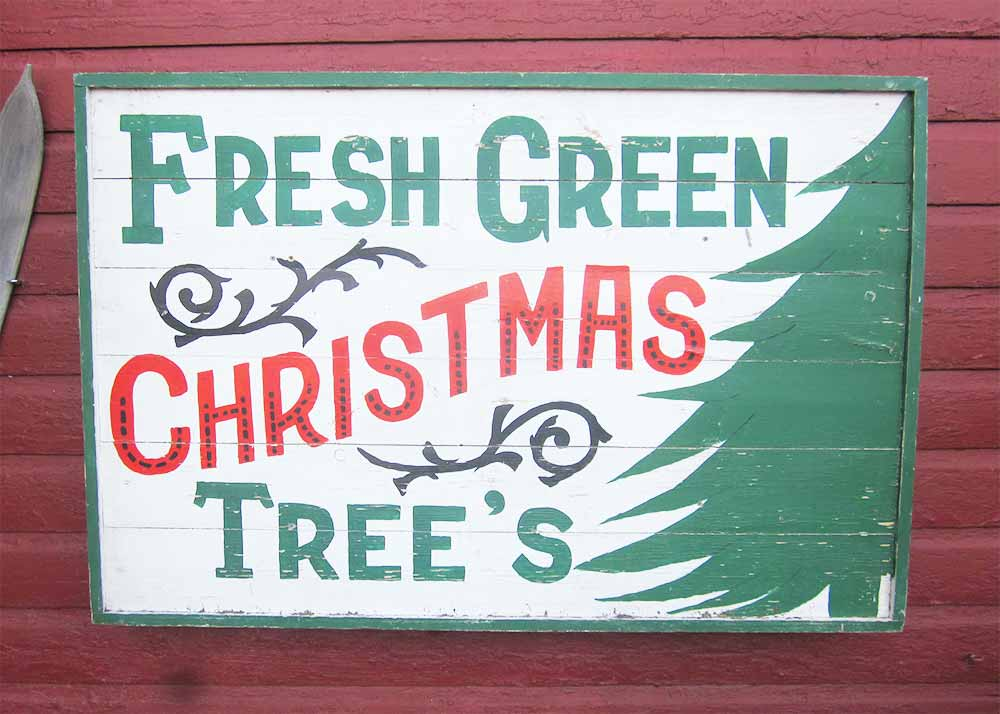 Vintage Christmas Tree Sign