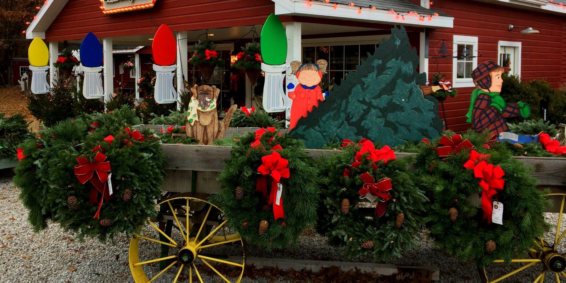 Fresh wreaths, kissing balls, and Christmas greenery at Hensler Nursery